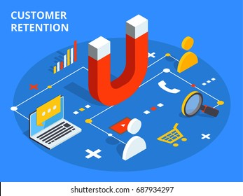 Customer retention or loyalty isometric vector concept illustration. Client care or satisfaction metaphor. Magnet attract potential buyers. Business marketing idea.