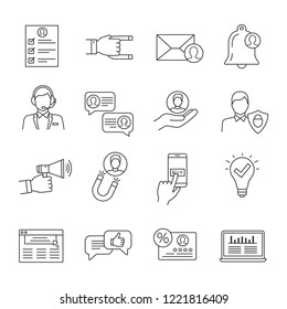 Customer retention and loyalty linear icons set. Clients care service. Customers attraction. Increasing involvement, participation and membership. Isolated vector outline illustration. Editable stroke