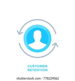 customer retention, returning client vector icon