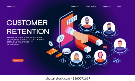 Customer retention, customer support and service 3d isometric vector illustration. Banner with icons.