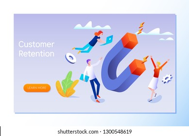 Customer retention, customer support and service 3d isometric vector illustration