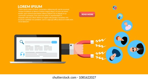 Customer retention, customer support and service banner  eps 10 vector