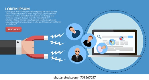 Customer retention, customer support and service banner concept eps 10 vector