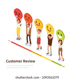 Customer review banner with characters. Can use for web banner, infographics, hero images. Flat isometric vector illustration isolated on white background.