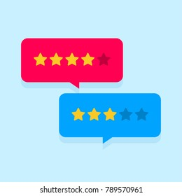 Customer review communication vector symbol, concept of feedback, testimonials, online survey, rating stars, positive and negative comments, chat bubble speeches