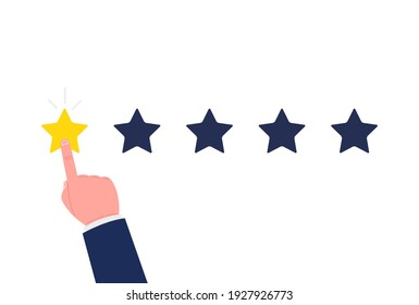 Customer review concept. Bad rate, negative experience. Feedback, reputation and quality concept. Hand pointing, finger push to one star rating. Vector.
