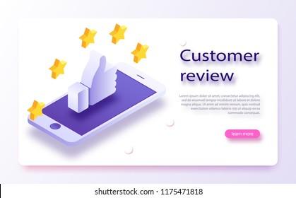 Konzept der Kundenüberprüfung Feedback, Ruf und Qualitätskonzept. Handzeige, Fingerzeig auf fünf Sterne. Kundenübersicht, Bewertung der Benutzerfreundlichkeit, Feedback, Bewertung des Systems isometrischen Konzepts.