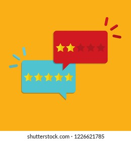 Customer review, concept of feedback, testimonials, online survey, rating stars, positive and negative comments, chat bubble speeches