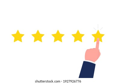 Customer review concept. Good rate, positive experience. Feedback, reputation and quality concept. Hand pointing, finger push to one star rating. Vector.