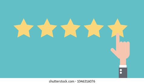 Customer review concept. Star rating. Flat design