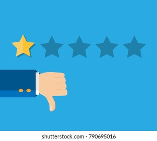 Customer review concept. Vector illustration. Rating golden stars. Feedback, reputation, review. One star rating. Thumb down, dislike flat icon. Hand icon.