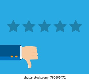 Customer review concept. Vector illustration. Rating golden stars. Feedback, reputation, review. Poor, bad rating. Thumb down, dislike flat icon. Hand icon.