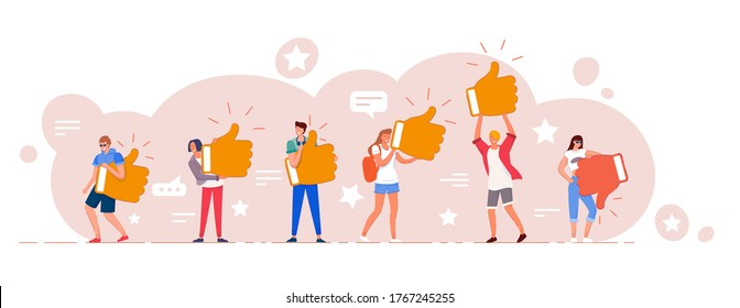 Customer review. Different people giving online review rating and positive or negative feedback Customer character holding thumbs-up and thumbs-down sign set. Survey and support vector illustration