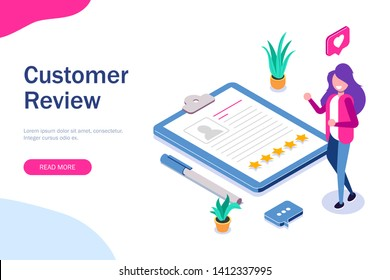 Customer review. HR manager evaluates resumes. Five stars and positive feedback. Can use for web banner, infographics, hero images. Vector isometric 3d illustration.