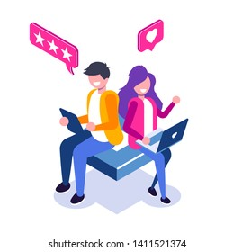Customer Review isometric concept. Usability Evaluation, Feedback, Rating system. Man and Woman leave a review. Vector illustration in 3d flat style.
