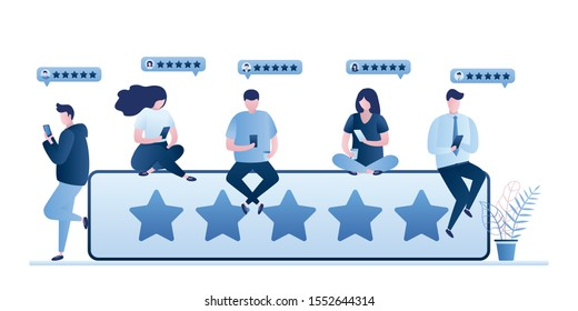 Customer review rating concept. Five star rank and tiny people clients give review and feedback with smartphone. Various characters rate and gaving stars. Trendy style vector illustration