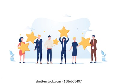 Customer review rating. Different People give review rating and feedback. Flat vector illustration. Customer choice. Know your client concept. Rank rating stars feedback. Business satisfaction support