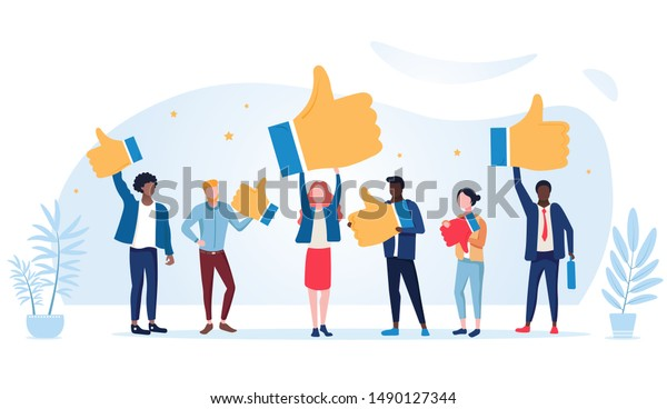 Customer review rating. People give review rating and feedback. Flat vector illustration. Customer choice. Know your client concept. Rank rating stars feedback. Business satisfaction support