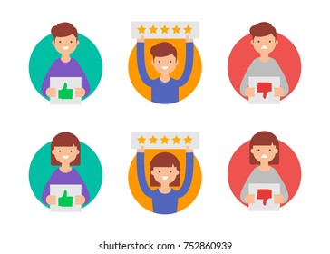 Customer reviews, flat rating vector icons