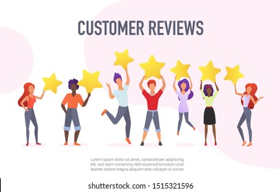 Customer reviews flat vector banner template. Happy users holding golden stars cartoon characters. Customers evaluating performance, services. Consumers positive feedback poster with text space