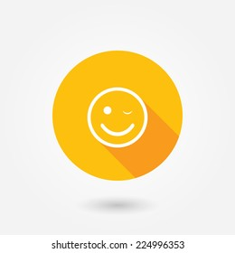 Customer satisfaction or feedback icon.  Flat style icon with long shadow. Happy customer icon. Perfection concept. Good mood icon. Happy computer user sign
