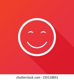 Customer satisfaction or feedback icon. Modern flat icon with long shadow effect