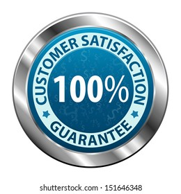 Customer satisfaction guarantee 100 percent metal label icon or symbol  isolated on white background. Vector illustration