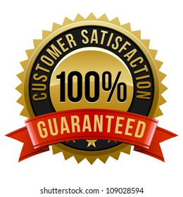 Customer satisfaction guaranteed gold badge and banner in gold and red.