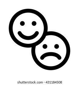 Customer satisfaction happy & sad / unhappy smiley face line art vector icon for apps and websites