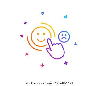 Customer satisfaction line icon. Positive feedback sign. Smile symbol. Gradient line button. Customer satisfaction icon design. Colorful geometric shapes. Vector