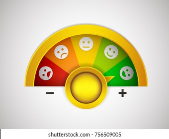 Customer satisfaction meter with button, arrow and emotions from the most negative to the most positive. Vector illustration