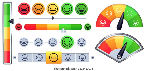Customer satisfaction meter scale. Customer rate with green happy smile and sad red faces, emotion measurements scales vector set. Illustration customer satisfaction meter, survey emotion smile