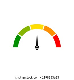 Customer satisfaction meter, speedometer. Vector illustration.