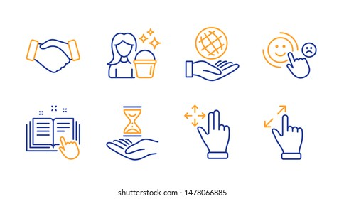 Customer satisfaction, Technical documentation and Handshake line icons set. Safe planet, Move gesture and Time hourglass signs. Cleaning, Touchscreen gesture symbols. Happy smile, Manual. Vector