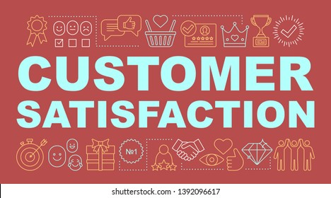 Customer satisfaction word concepts banner. Exceed client expectations. Presentation, website. High rating. Positive feedback. Isolated lettering typography idea with linear icons. Vector illustration