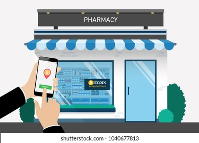 Customer searching location for bitcoin currency accepted store by smartphone, Cryptocurrency flat style vector concept