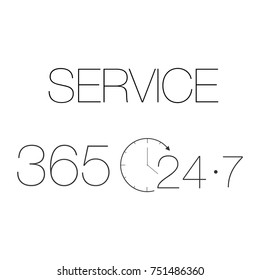 Customer Service 365-7-24 label black on white