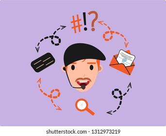 Customer Service Assistant, a man hotline 24Hour, operator