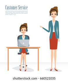 Customer service character. Call Center concept working people. Illustration vector of flat design.