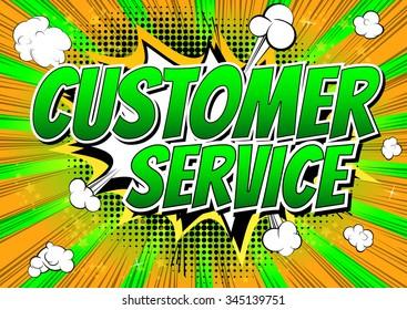 Customer Service - Comic book style word.