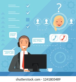 Customer service concept. 24h business online support managers operators complaint vector background illustration