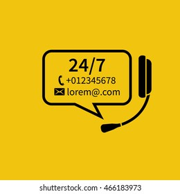 Customer service, concept. Headphones with microphone, bubble for text. Technical support online, call center. Abstract background vector illustration. Template for helpline, support service.