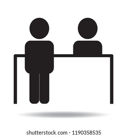 Customer service desk icon vector flat sign symbols logo illustration isolated on white background.Concept for office.