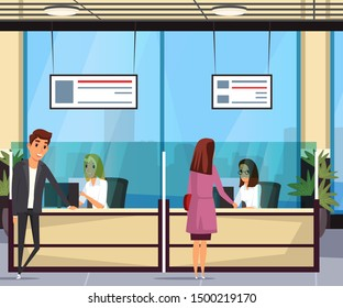 Customer service flat vector illustration. Happy clients and friendly staff cartoon characters. Smiling man and woman at reception. Female receptionists behind counter. Passport office, travel agency