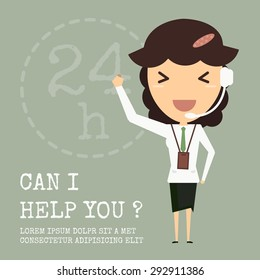 Customer service girl operator support, Vector cartoon concept abstract business