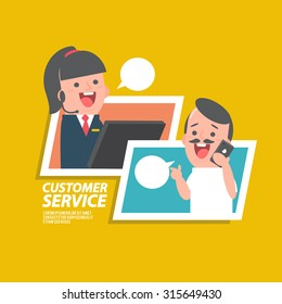 Customer service girl - Vector Illustration