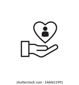 customer service hand and love icon vector illustration