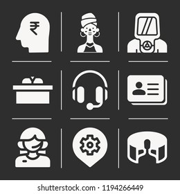 Customer service, headphones, 360, user, woman, head, businessman, hazmat icon set suitable for info graphics, websites and print media and interfaces. line vector icons.