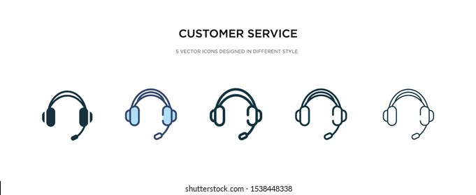 customer service headset icon in different style vector illustration. two colored and black customer service headset vector icons designed in filled, outline, line and stroke style can be used for