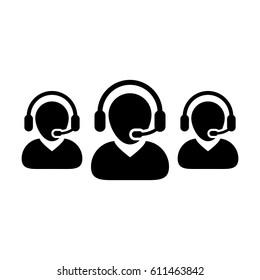 Customer Service Icon - Call Center Operator Wearing Headphone Avatar in Glyph Vector illustration